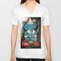 ganesh V-neck T-shirts featuring ganesh by Michael Anthony Alvarez