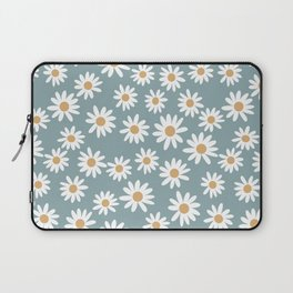 Daisies - daisy floral repeat, daisy flowers, 70s, retro, black, daisy florals dusty blue Laptop Sleeve