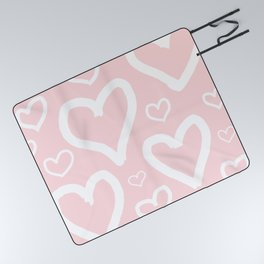 Millennial Pink Pastel Hearts Picnic Blanket