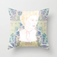 marie antoinette Throw Pillows featuring MARIE ANTOINETTE by Itxaso Beistegui Illustrations
