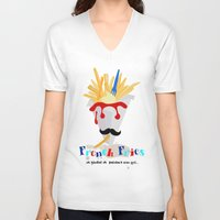 french fries V-neck T-shirts featuring French Fries by Elisandra
