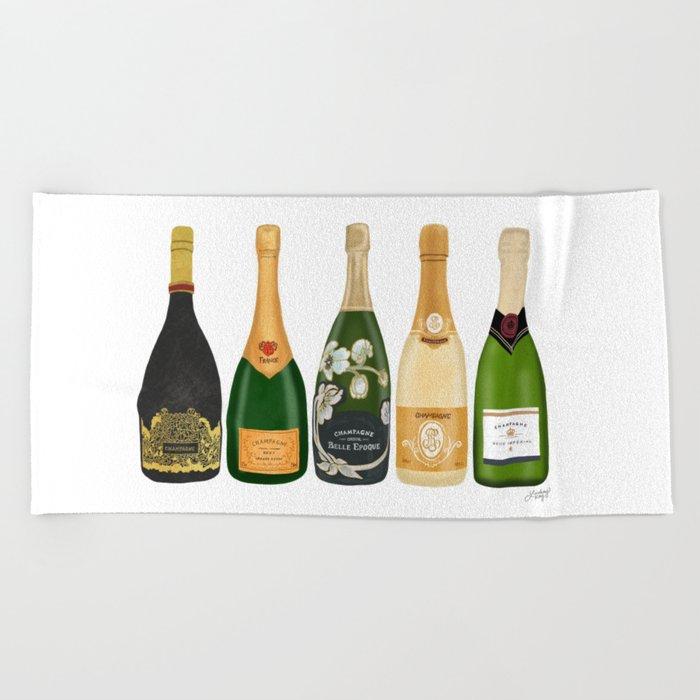 Champagne Bottles Beach Towel