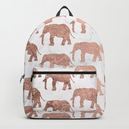 Modern faux rose gold elephants white marble Backpack