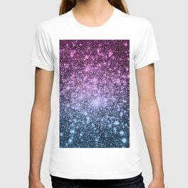 Galaxy Sparkle Stars Dark Mauve Steel Blue T-shirt