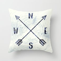 Compass in Navy Blue Throw Pillow