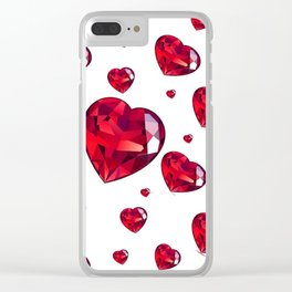MODERN ART RAINING RUBY RED VALENTINES HEARTS Clear iPhone Case
