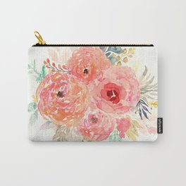 Pink Flower Bouquet Carry-All Pouch