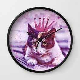 cute cat princess pink crown art Wall Clock