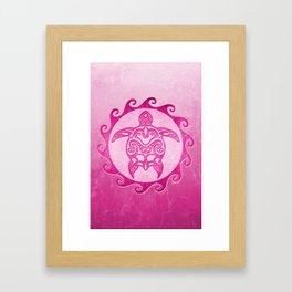 Pink Tribal Turtle Sun Framed Art Print