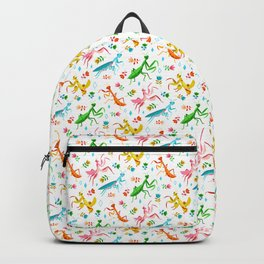 An Unordinary Array of Praying Mantises - White Backpack