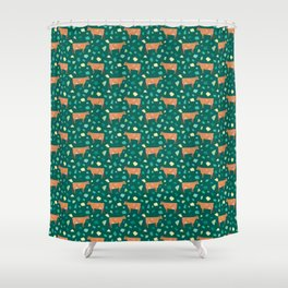 Jersey Terrazzo // Forest Green Shower Curtain