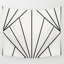 Diamond Series Sun Burst Charcoal on White Wall Tapestry