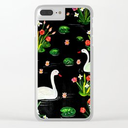 Slavic Folk Art Inspired Acrylic and Gouache Two Swans Painting, Perfect Gift For The Holidays Clear iPhone Case