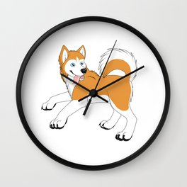 Husky (Red and White) Wall Clock