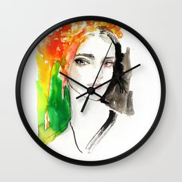 Flower wreath fashion illustration Wall Clock