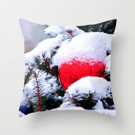 Red Christmas Ornament Throw Pillow