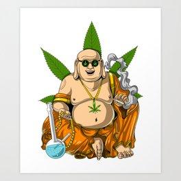 Buddha Weed Smoking Stoner Art Print