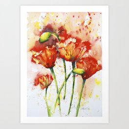 Lush Orange Spring Poppies Art Print