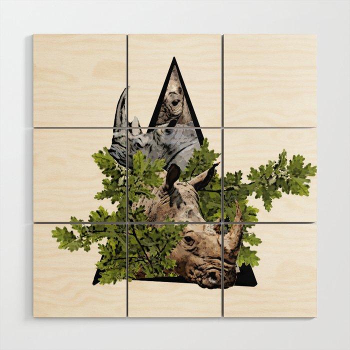 Jungle Animal Rhinocero ArtWork Wood Wall Art