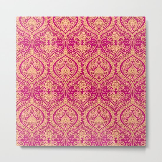 Simple Ogee Pink Metal Print