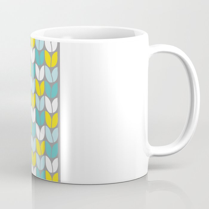 Tulip Knit Aqua Gray Yellow Coffee Mug By Beththompson