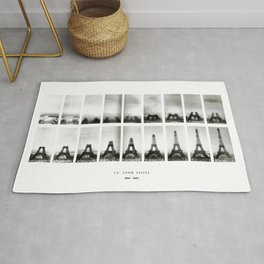1888-1889 Eiffel Tower Full Construction Sequence Photographic Poster Rug