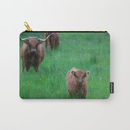 Highland Calf Under Mothers Watchful Eye Carry-All Pouch