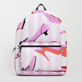 Pink Stiped Shoe And High Heel Pattern Backpack