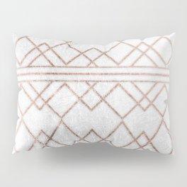 Chic & Elegant Faux Rose Gold Geometric Triangles Pillow Sham