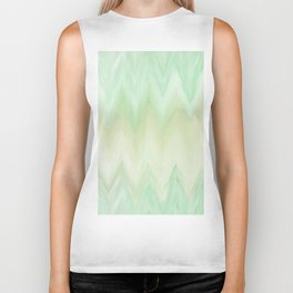 Hand painted mint green watercolor gradient chevron ikat Biker Tank