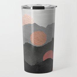 Abstract Mountains // Shades of Black and Grey Landscape Full Metallic Gold Moon Travel Mug