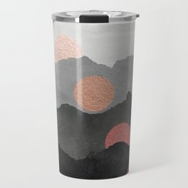 Abstract Mountains // Shades of Black and Grey Landscape Full Metallic Gold Moon Travel Mug