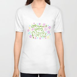 Little Miss Happy Plants Unisex V-Neck