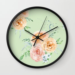 Pastel Floral Pattern 02 Wall Clock