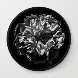 Backyard Flowers In Black And White 3 Wall Clock
