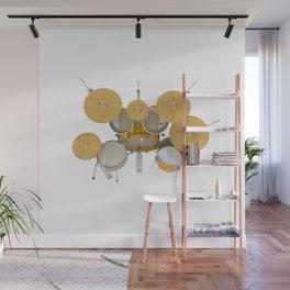 Yellow Drum Kit Wall Mural