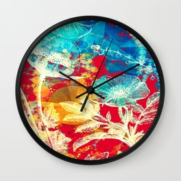 RED FLORAL ABSTRACT Wall Clock