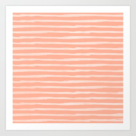 Sweet Life Thin Stripes Peach Coral Pink Art Print