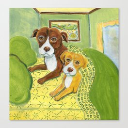 Pitbulls on patterned sheets Canvas Print