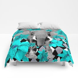 ELEPHANT and HARLEQUIN BLUE AND GRAY Comforters