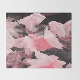 Light Pink Snapdragons Abstract Flowers Throw Blanket