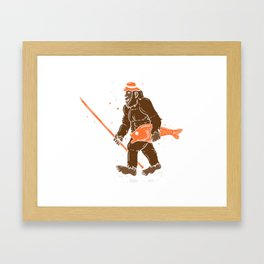 Fishing & Yeti Design: Bigfoot Carrying Fish Framed Art Print