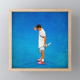 Roger Federer Thinking Tennis Framed Mini Art Print