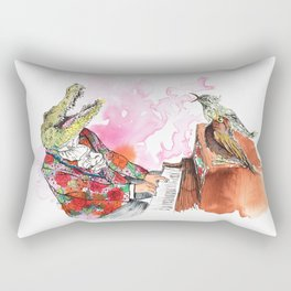 Piano Playing Alligator in a Floral Blazer, with Backup Singing Birds Rectangular Pillow