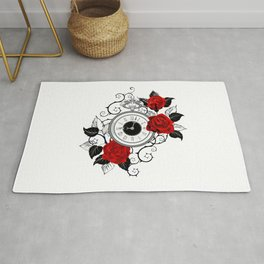 Contour Clock with Red Roses Rug