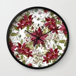 Poinsettia Flowers Wall Clock