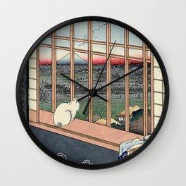 Utagawa Hiroshige Japanese Woodblock Cat Wall Clock