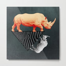 The orange rhinoceros who wanted to become a zebra Metal Print