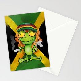 Rastafarian frog cartoon Stationery Cards