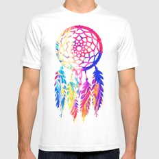 Hipster Neon Dreamcatcher Cute Rainbow Watercolor White MEDIUM Mens Fitted Tee